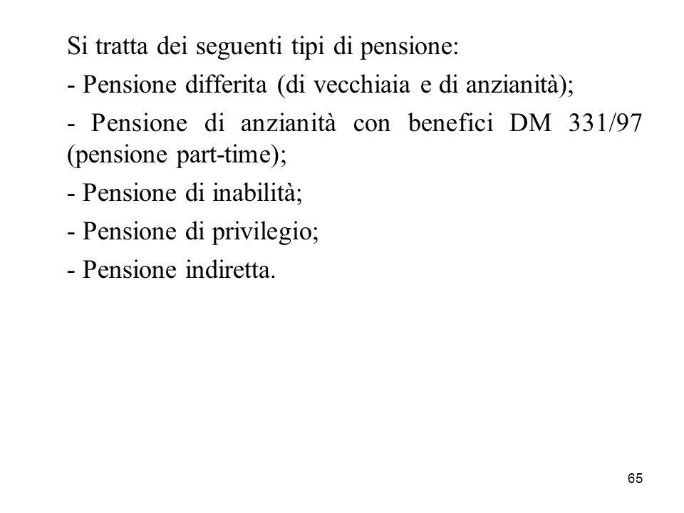 65 Si tratta dei seguenti tipi di pensione: - Pensione differita (di vecchiaia e di anzianità); - Pensione di anzianità con benefici DM 331/97 (pensio