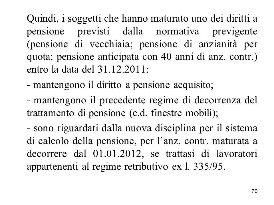 70 Quindi, i soggetti che hanno maturato uno dei diritti a pensione previsti dalla normativa previgente (pensione di vecchiaia; pensione di anzianità