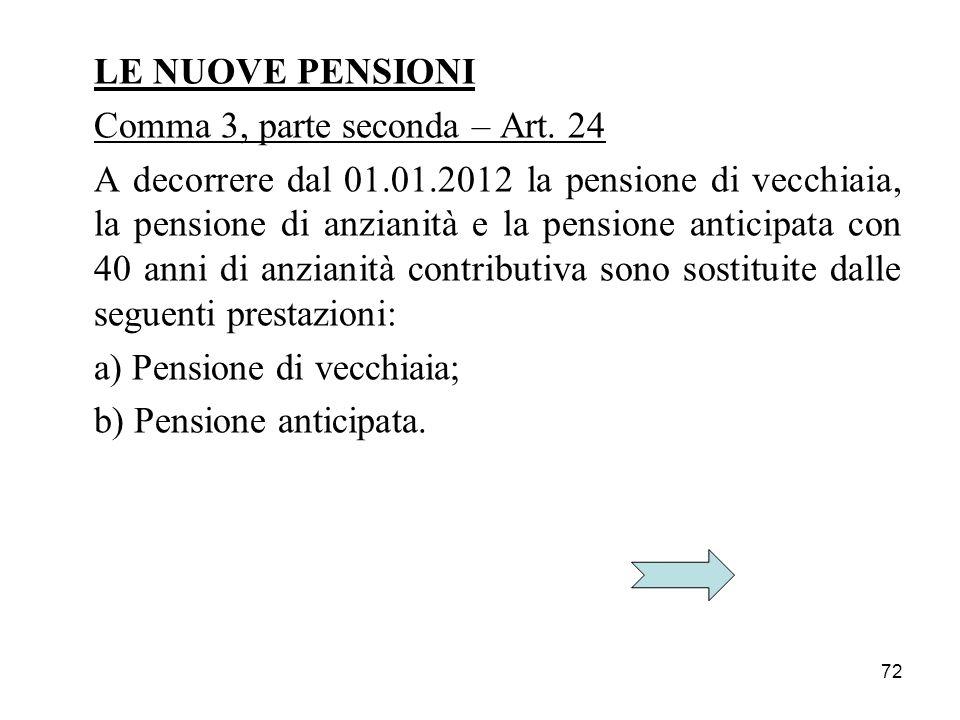 72 LE NUOVE PENSIONI Comma 3, parte seconda – Art. 24 A decorrere dal 01.01.2012 la pensione di vecchiaia, la pensione di anzianità e la pensione anti