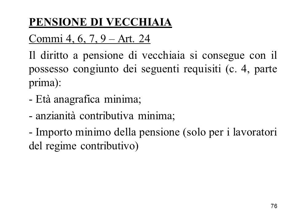 76 PENSIONE DI VECCHIAIA Commi 4, 6, 7, 9 – Art. 24 Il diritto a pensione di vecchiaia si consegue con il possesso congiunto dei seguenti requisiti (c