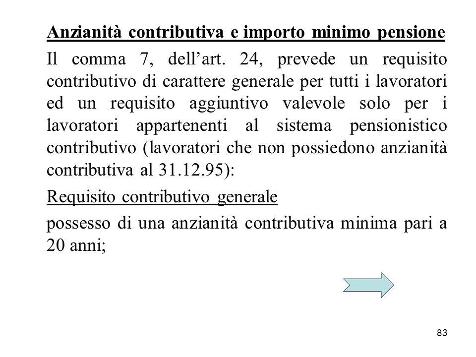 83 Anzianità contributiva e importo minimo pensione Il comma 7, dellart. 24, prevede un requisito contributivo di carattere generale per tutti i lavor