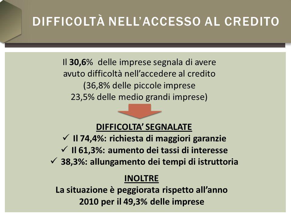 DIFFICOLTÀ NELLACCESSO AL CREDITO Il 30,6% delle imprese segnala di avere avuto difficoltà nellaccedere al credito (36,8% delle piccole imprese 23,5% delle medio grandi imprese) DIFFICOLTA SEGNALATE Il 74,4%: richiesta di maggiori garanzie Il 61,3%: aumento dei tassi di interesse 38,3%: allungamento dei tempi di istruttoria INOLTRE La situazione è peggiorata rispetto allanno 2010 per il 49,3% delle imprese