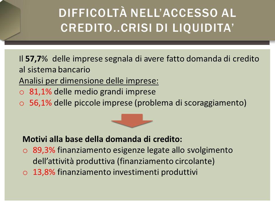 DIFFICOLTÀ NELLACCESSO AL CREDITO..CRISI DI LIQUIDITA Il 57,7% delle imprese segnala di avere fatto domanda di credito al sistema bancario Analisi per dimensione delle imprese: o 81,1% delle medio grandi imprese o 56,1% delle piccole imprese (problema di scoraggiamento) Motivi alla base della domanda di credito: o 89,3% finanziamento esigenze legate allo svolgimento dellattività produttiva (finanziamento circolante) o 13,8% finanziamento investimenti produttivi