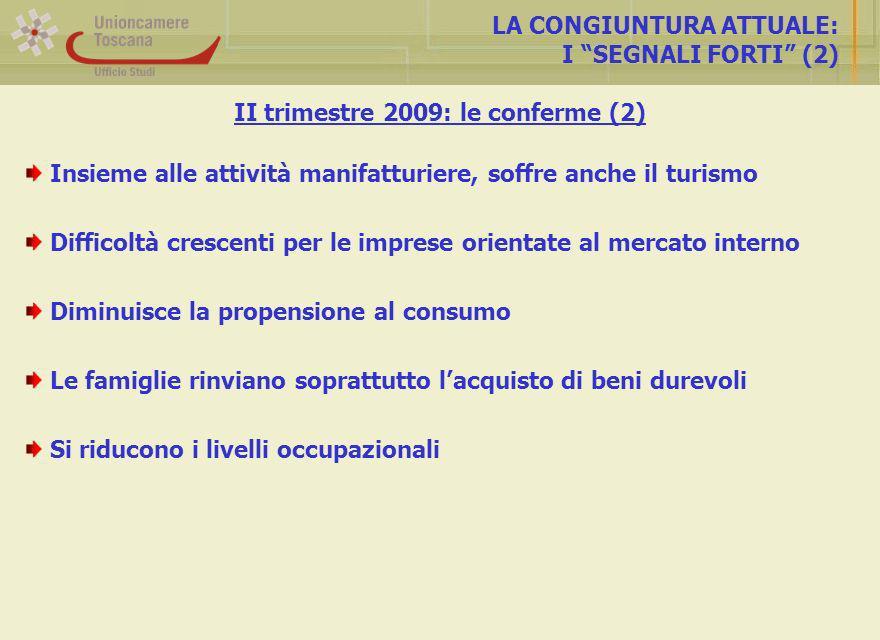 Andamento dei turisti presso le strutture ricettive LANDAMENTO DEL TURISMO Fonte: Unioncamere-Isnart Toscana (totale): aum.