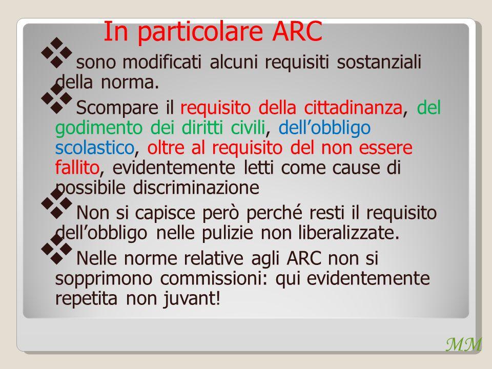 MM In particolare ARC sono modificati alcuni requisiti sostanziali della norma. Scompare il requisito della cittadinanza, del godimento dei diritti ci