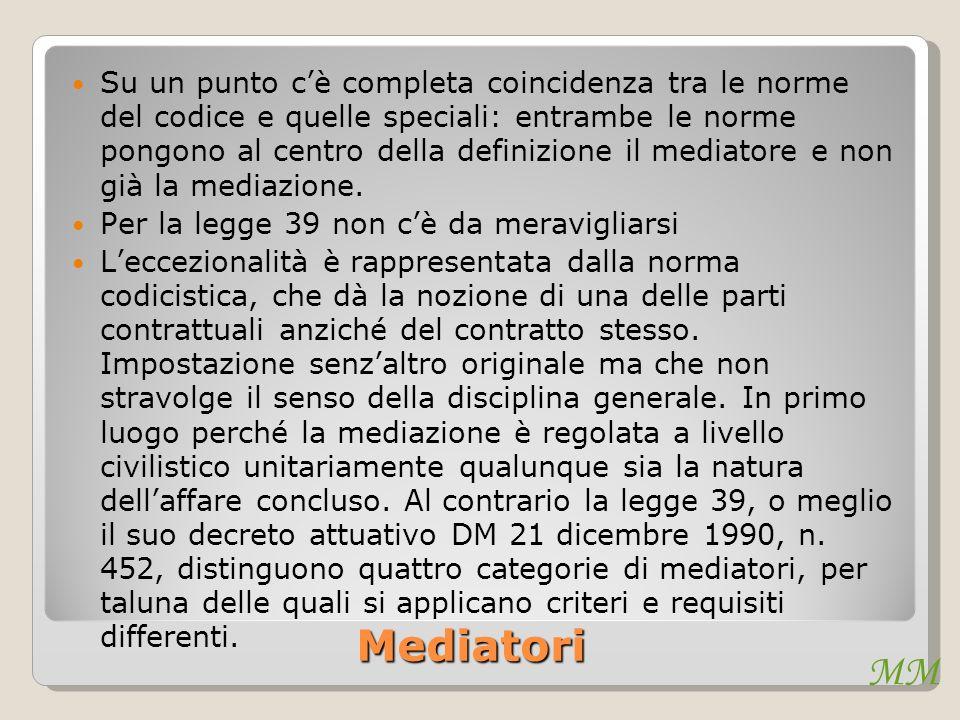 MM Mediatori Su un punto cè completa coincidenza tra le norme del codice e quelle speciali: entrambe le norme pongono al centro della definizione il mediatore e non già la mediazione.