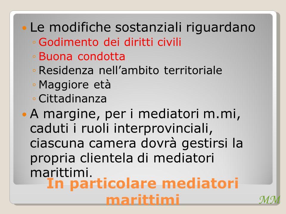 In particolare mediatori marittimi Le modifiche sostanziali riguardano Godimento dei diritti civili Buona condotta Residenza nellambito territoriale M
