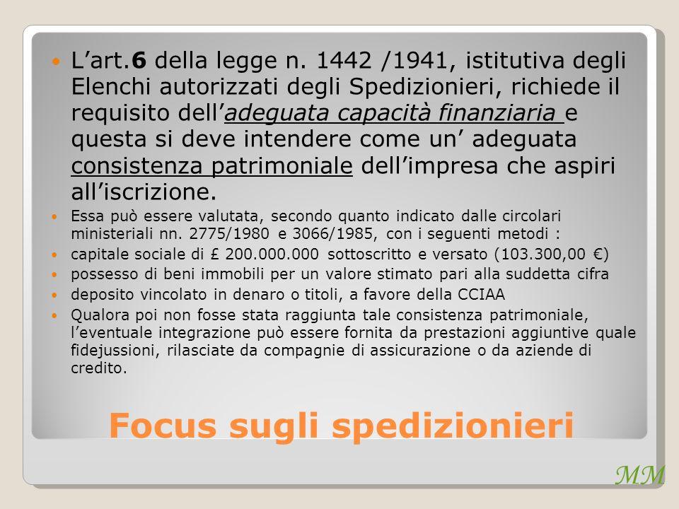 MM Focus sugli spedizionieri Lart.6 della legge n. 1442 /1941, istitutiva degli Elenchi autorizzati degli Spedizionieri, richiede il requisito dellade