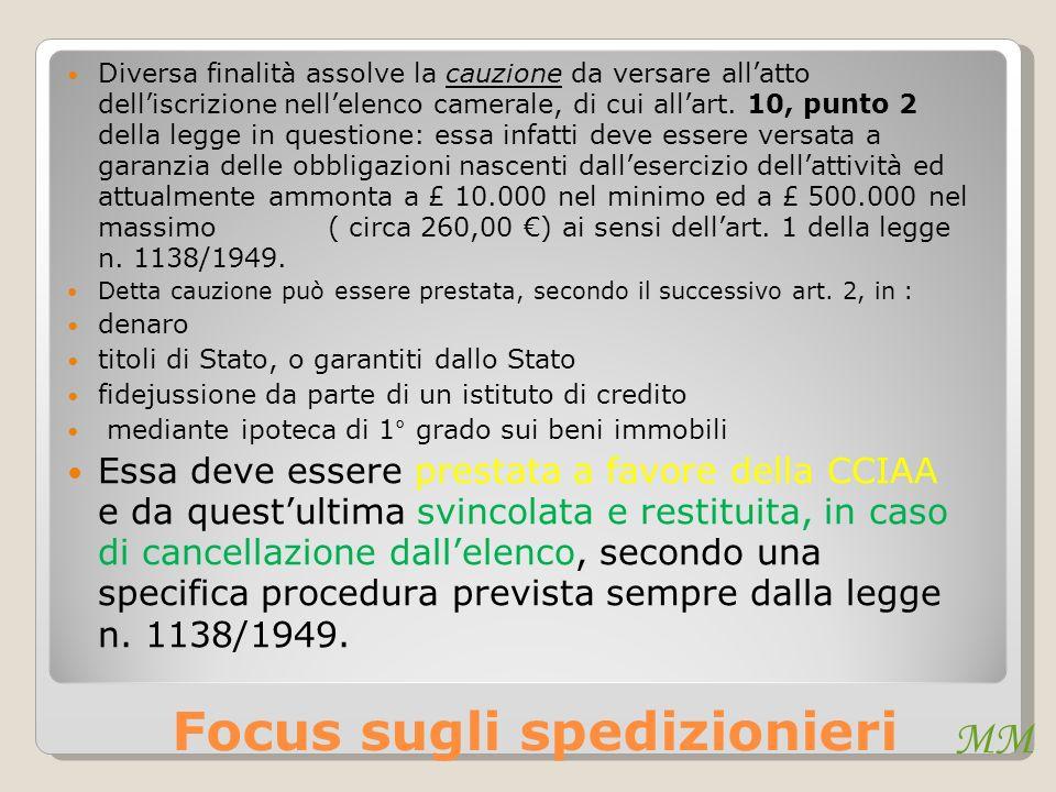 MM Focus sugli spedizionieri Diversa finalità assolve la cauzione da versare allatto delliscrizione nellelenco camerale, di cui allart. 10, punto 2 de
