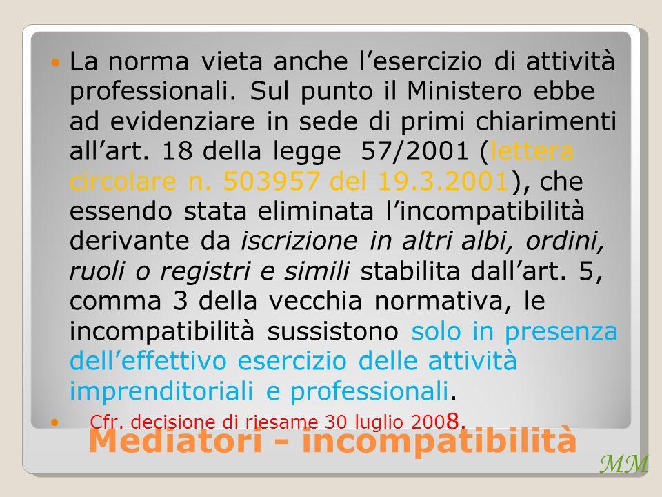 MM Mediatori - incompatibilità La norma vieta anche lesercizio di attività professionali. Sul punto il Ministero ebbe ad evidenziare in sede di primi