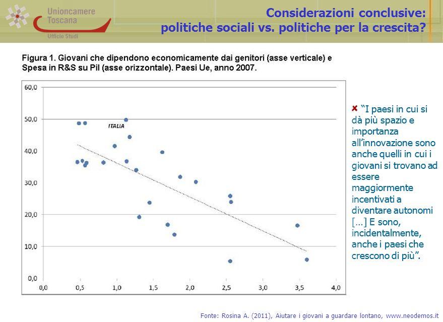 Considerazioni conclusive: politiche sociali vs. politiche per la crescita.