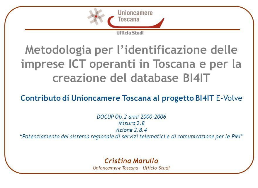 Metodologia per lidentificazione delle imprese ICT operanti in Toscana Ufficio Studi Indice di specializzazione ICT per comune Archivio ATECO qualificate Classi di valori dellindice 0 0 - 0,5 0,5 - 1 1 - 1,5 1,5 e oltre Costruzione dellarchivio - Livelli