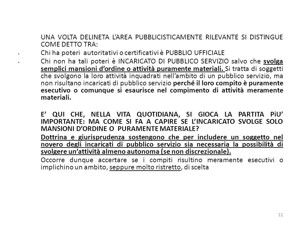 UNA VOLTA DELINETA LAREA PUBBLICISTICAMENTE RILEVANTE SI DISTINGUE COME DETTO TRA: Chi ha poteri autoritativi o certificativi è PUBBLIO UFFICIALE Chi