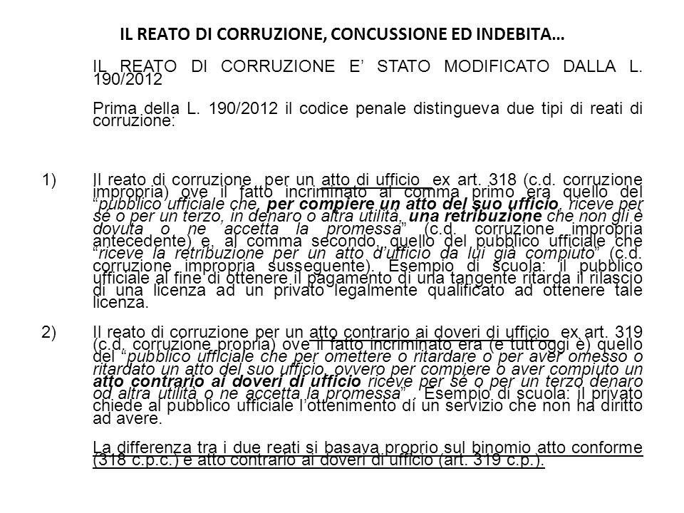 IL REATO DI CORRUZIONE, CONCUSSIONE ED INDEBITA… IL REATO DI CORRUZIONE E STATO MODIFICATO DALLA L. 190/2012 Prima della L. 190/2012 il codice penale