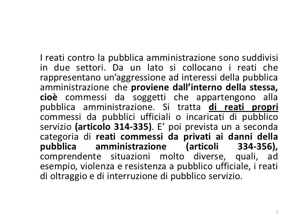 I reati contro la pubblica amministrazione sono suddivisi in due settori. Da un lato si collocano i reati che rappresentano unaggressione ad interessi