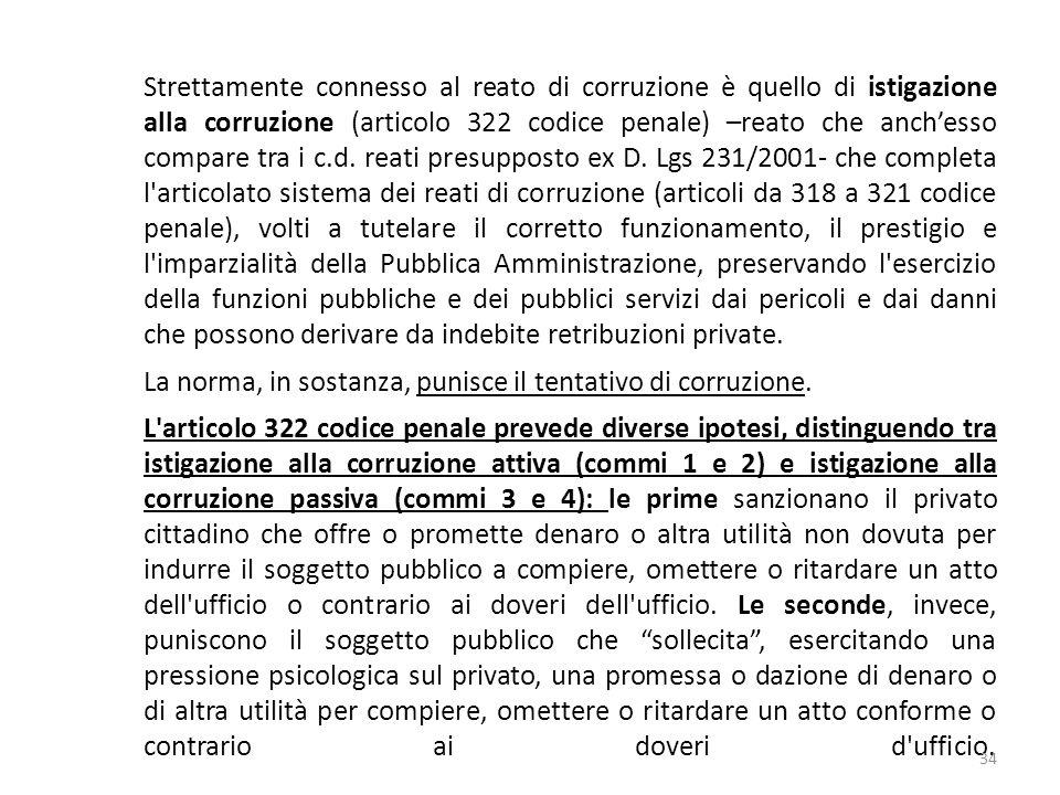 Strettamente connesso al reato di corruzione è quello di istigazione alla corruzione (articolo 322 codice penale) –reato che anchesso compare tra i c.d.