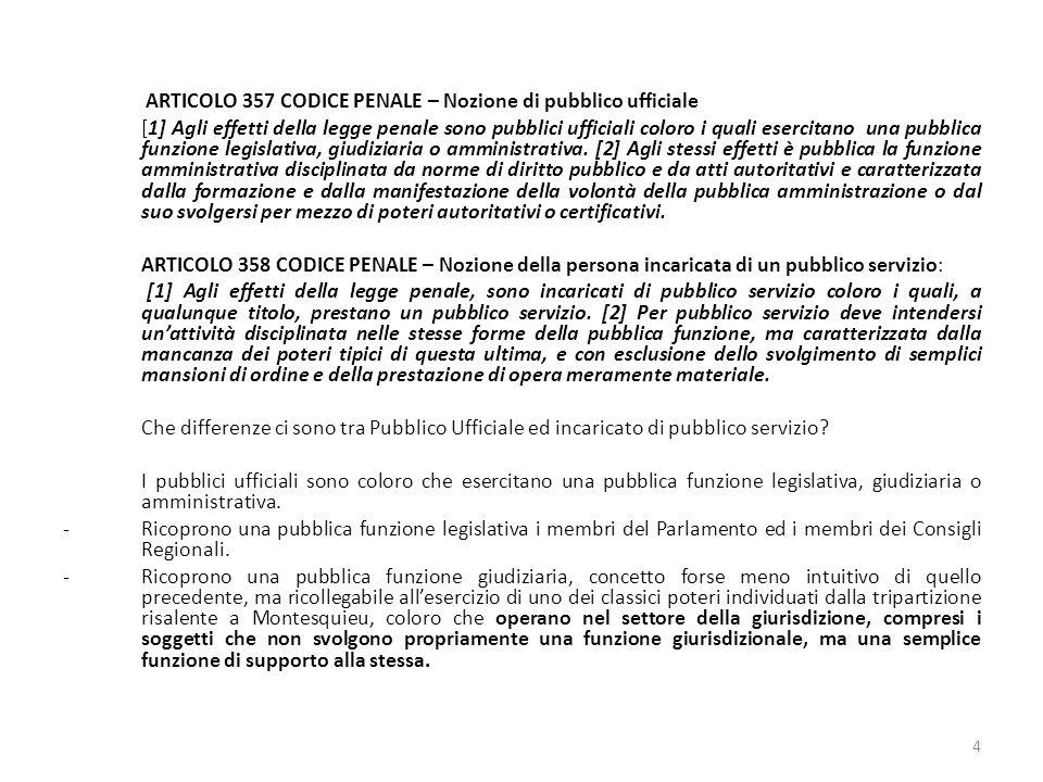ARTICOLO 357 CODICE PENALE – Nozione di pubblico ufficiale [1] Agli effetti della legge penale sono pubblici ufficiali coloro i quali esercitano una pubblica funzione legislativa, giudiziaria o amministrativa.