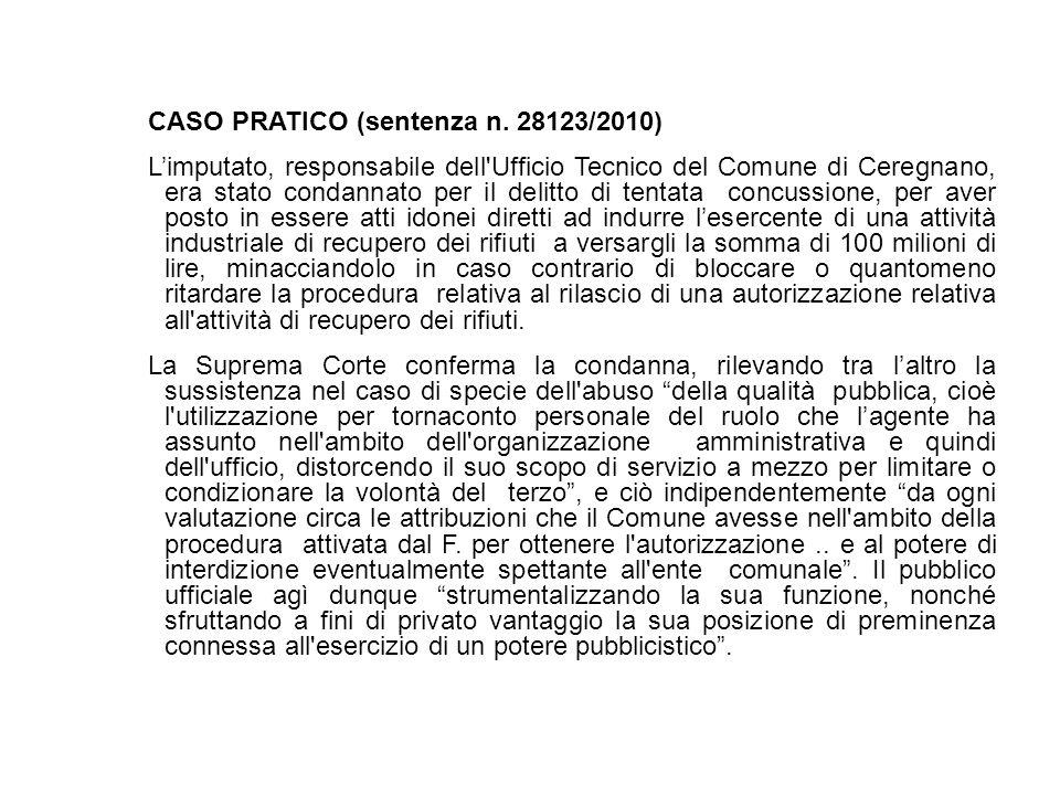 CASO PRATICO (sentenza n. 28123/2010) Limputato, responsabile dell'Ufficio Tecnico del Comune di Ceregnano, era stato condannato per il delitto di ten