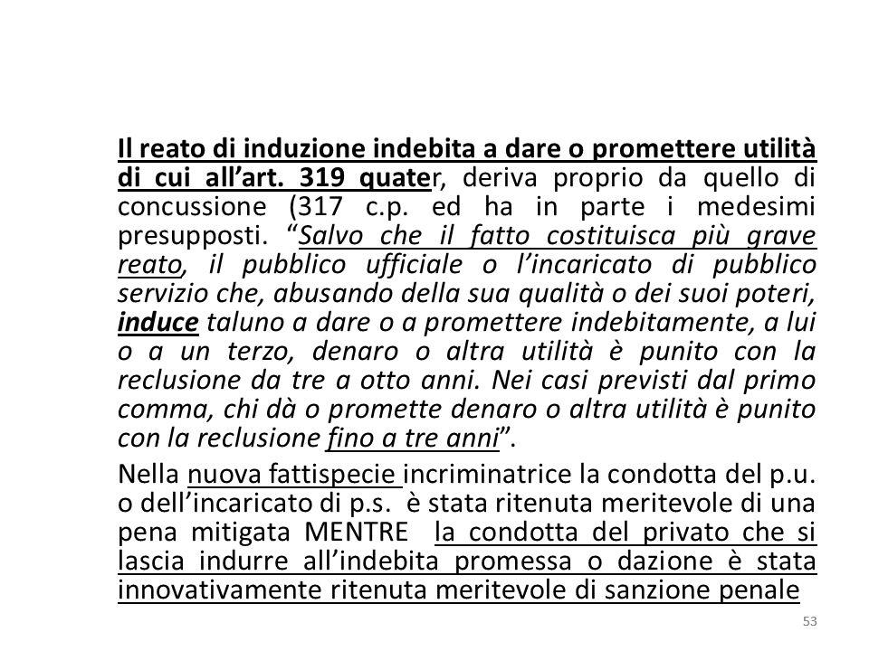 Il reato di induzione indebita a dare o promettere utilità di cui allart. 319 quater, deriva proprio da quello di concussione (317 c.p. ed ha in parte