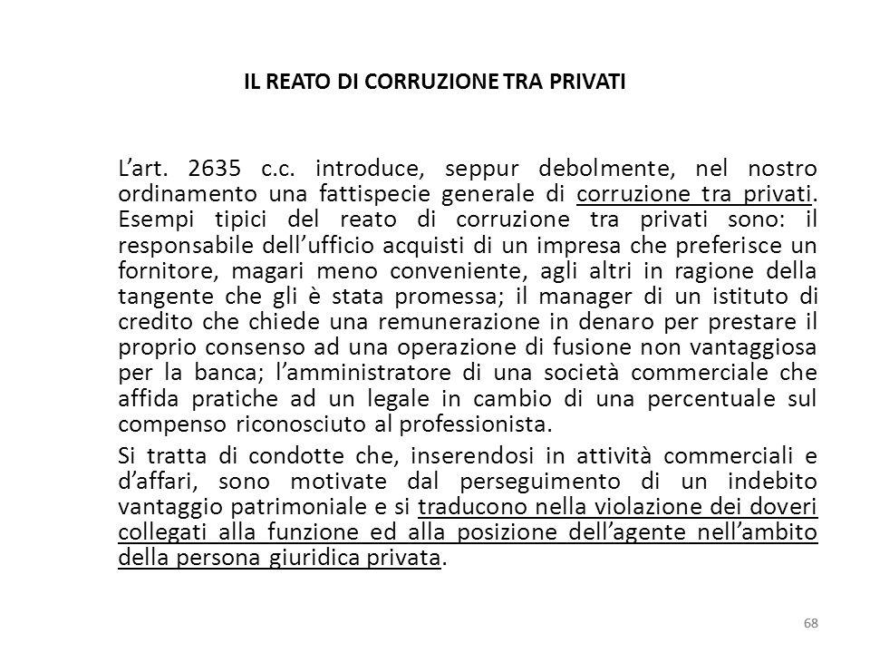 IL REATO DI CORRUZIONE TRA PRIVATI Lart. 2635 c.c. introduce, seppur debolmente, nel nostro ordinamento una fattispecie generale di corruzione tra pri