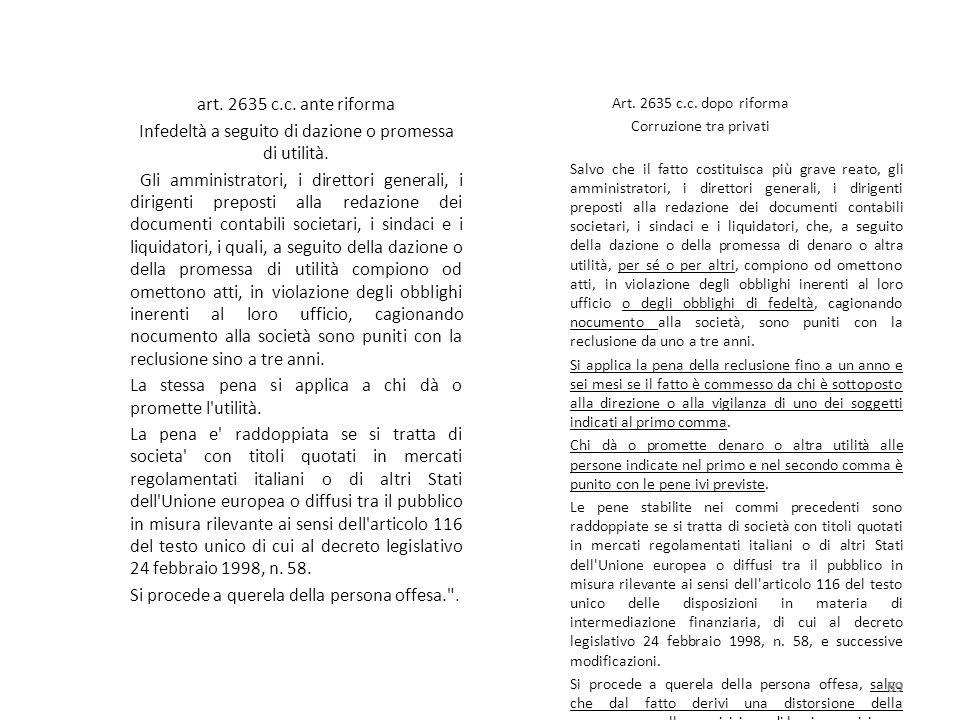 art. 2635 c.c. ante riforma Infedeltà a seguito di dazione o promessa di utilità. Gli amministratori, i direttori generali, i dirigenti preposti alla