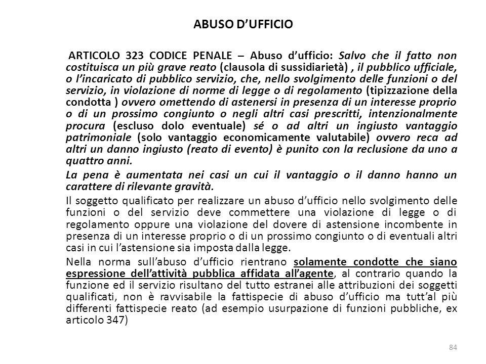 ABUSO DUFFICIO ARTICOLO 323 CODICE PENALE – Abuso dufficio: Salvo che il fatto non costituisca un più grave reato (clausola di sussidiarietà), il pubb
