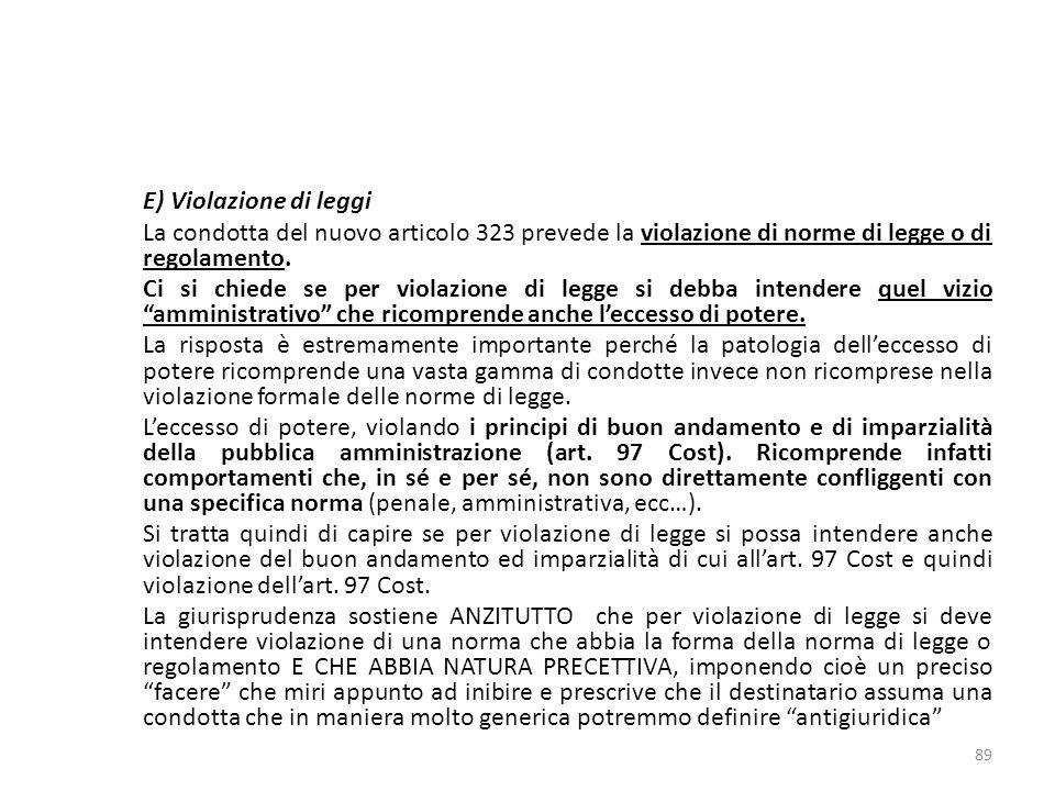 E) Violazione di leggi La condotta del nuovo articolo 323 prevede la violazione di norme di legge o di regolamento.