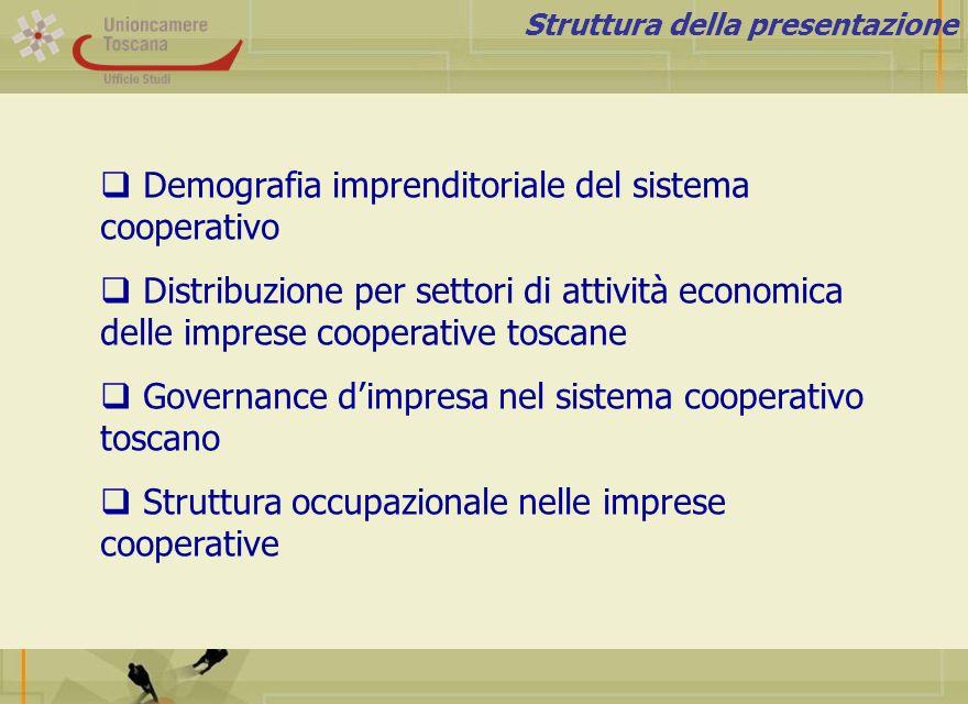 Struttura della presentazione Demografia imprenditoriale del sistema cooperativo Distribuzione per settori di attività economica delle imprese coopera