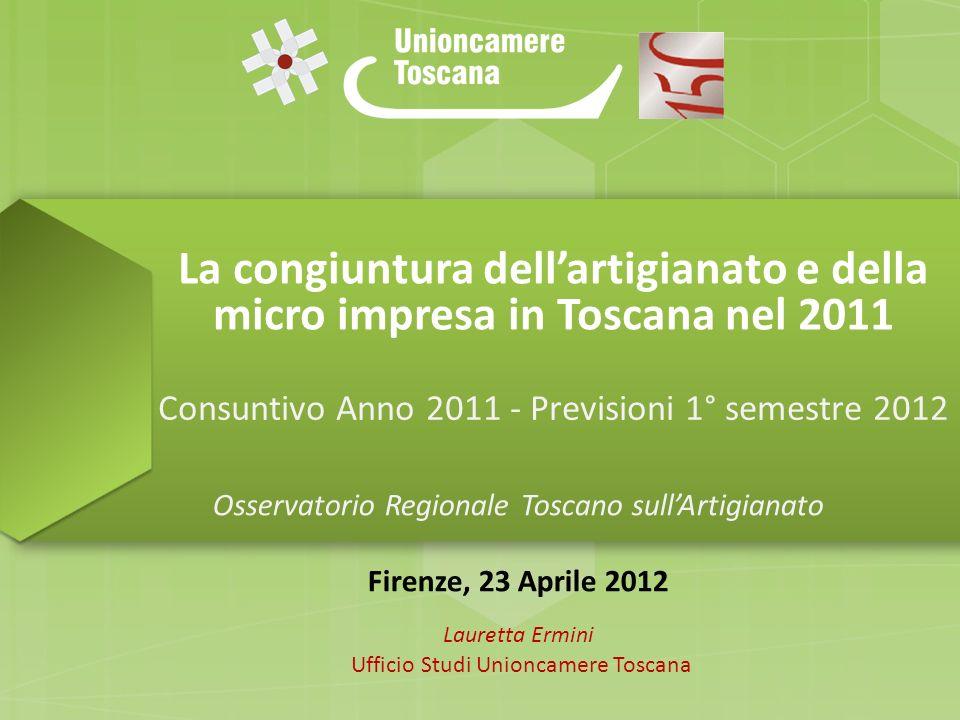 La congiuntura dellartigianato e della micro impresa in Toscana nel 2011 Consuntivo Anno 2011 - Previsioni 1° semestre 2012 Osservatorio Regionale Tos
