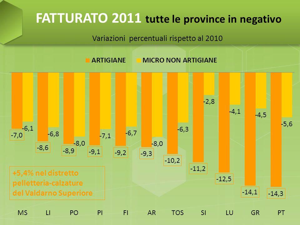 FATTURATO 2011 molto negativo per le imprese sotto i 6 addetti…tengono meglio le più strutturate Variazioni percentuali rispetto al 2010
