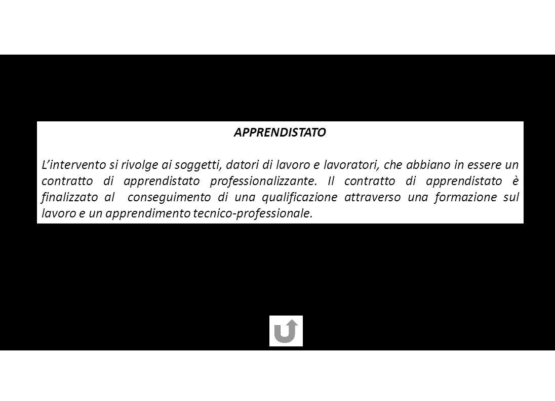APPRENDISTATO Lintervento si rivolge ai soggetti, datori di lavoro e lavoratori, che abbiano in essere un contratto di apprendistato professionalizzante.