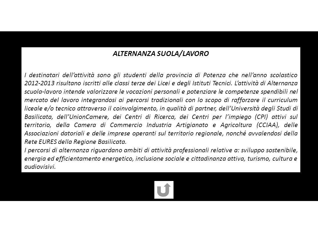 ALTERNANZA SUOLA/LAVORO I destinatari dellattività sono gli studenti della provincia di Potenza che nellanno scolastico 2012-2013 risultano iscritti alle classi terze dei Licei e degli Istituti Tecnici.