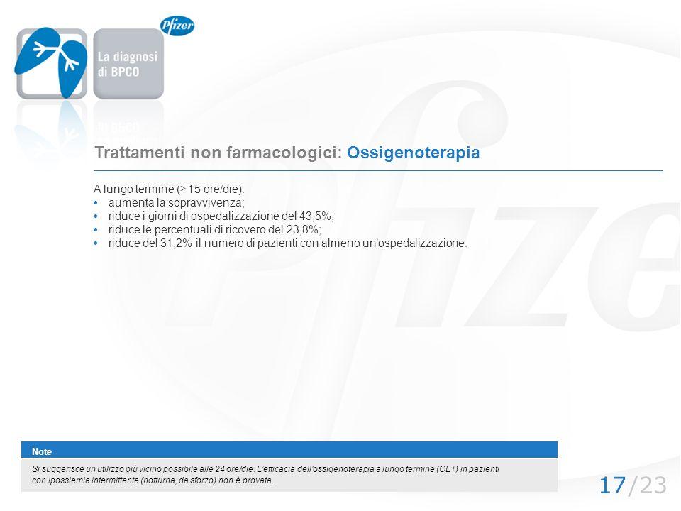 /2317 Trattamenti non farmacologici: Ossigenoterapia A lungo termine ( 15 ore/die): aumenta la sopravvivenza; riduce i giorni di ospedalizzazione del
