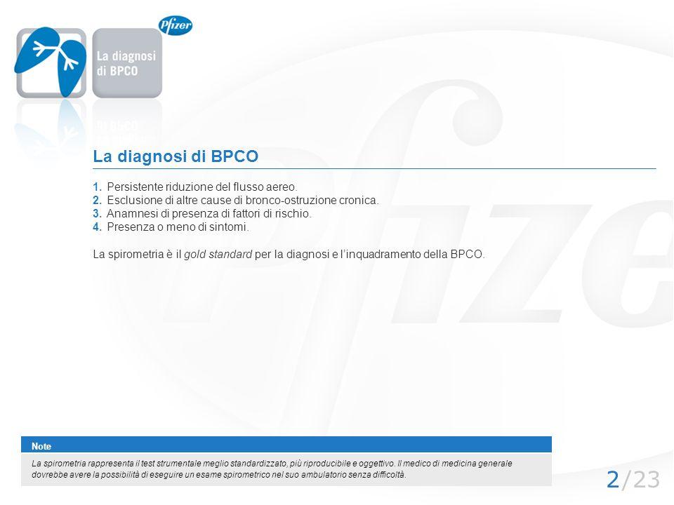 /232 La diagnosi di BPCO 1.Persistente riduzione del flusso aereo. 2.Esclusione di altre cause di bronco-ostruzione cronica. 3.Anamnesi di presenza di