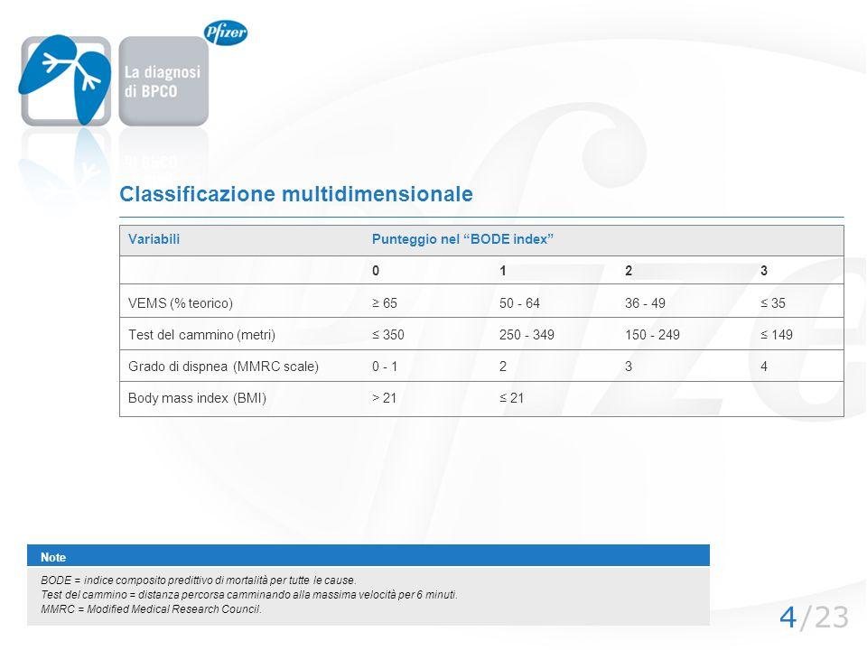 /234 Classificazione multidimensionale VariabiliPunteggio nel BODE index 0123 VEMS (% teorico) 6550 - 6436 - 49 35 Test del cammino (metri) 350250 - 3