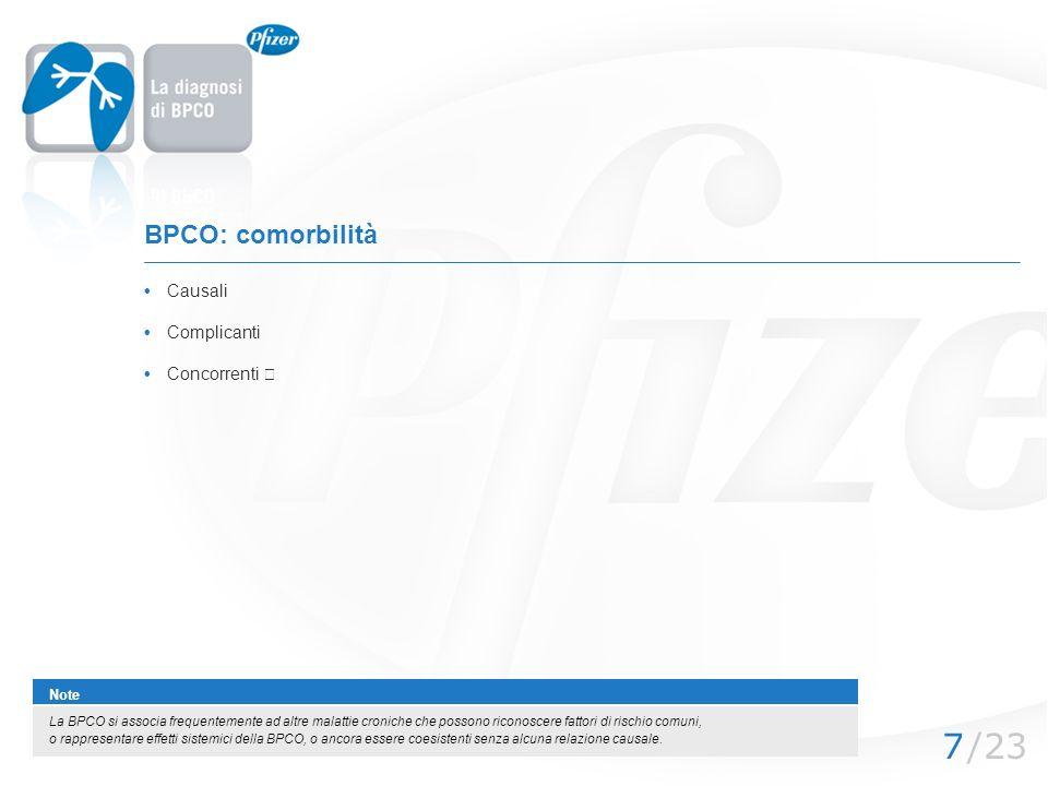 /237 BPCO: comorbilità Causali Complicanti Note La BPCO si associa frequentemente ad altre malattie croniche che possono riconoscere fattori di rischi