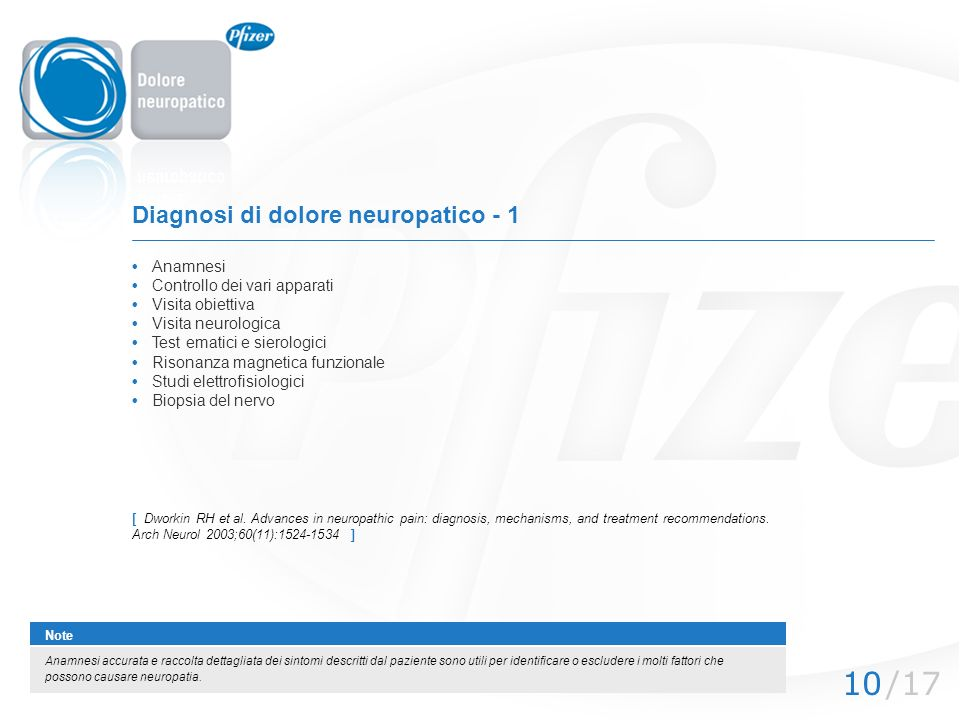/1710 Diagnosi di dolore neuropatico - 1 Anamnesi Controllo dei vari apparati Visita obiettiva Visita neurologica Test ematici e sierologici Risonanza