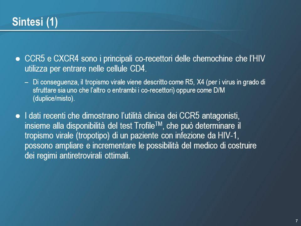 7 1/9/2007 - 730pmeSlide - P3591 - Template - Blue - No Logo Sintesi (1) CCR5 e CXCR4 sono i principali co-recettori delle chemochine che lHIV utilizz
