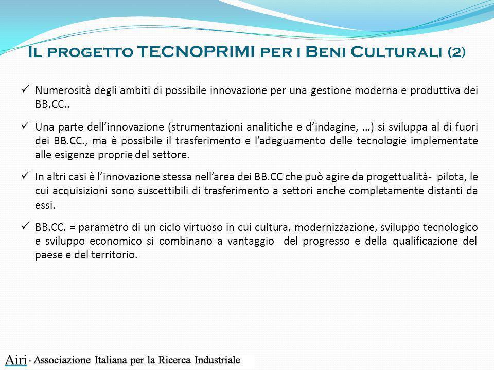 Il progetto TECNOPRIMI per i Beni Culturali (2) Numerosità degli ambiti di possibile innovazione per una gestione moderna e produttiva dei BB.CC.. Una