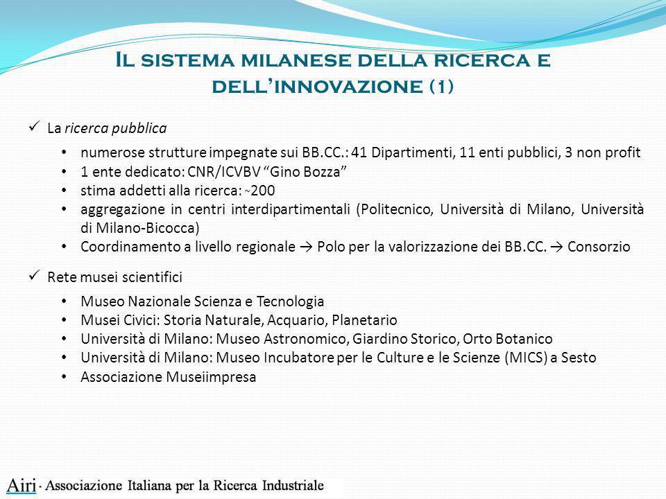 Il sistema milanese della ricerca e dellinnovazione (1) La ricerca pubblica numerose strutture impegnate sui BB.CC.: 41 Dipartimenti, 11 enti pubblici