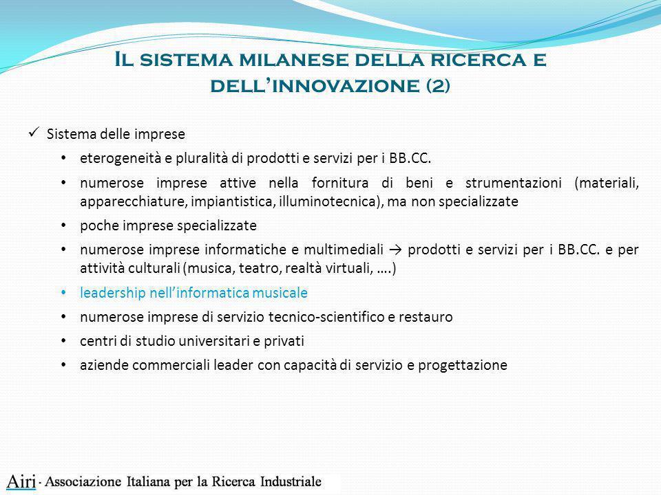 Il sistema milanese della ricerca e dellinnovazione (2) Sistema delle imprese eterogeneità e pluralità di prodotti e servizi per i BB.CC. numerose imp
