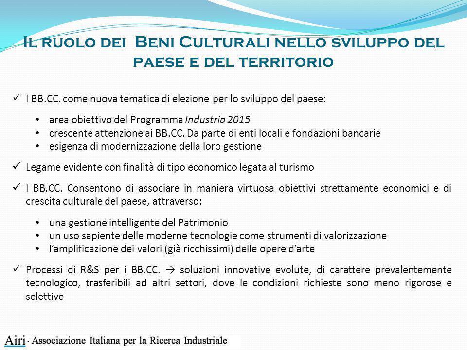 Tecnologie di interesse milanese Grande varietà di applicazioni a carattere tecnologico per i BB.CC.