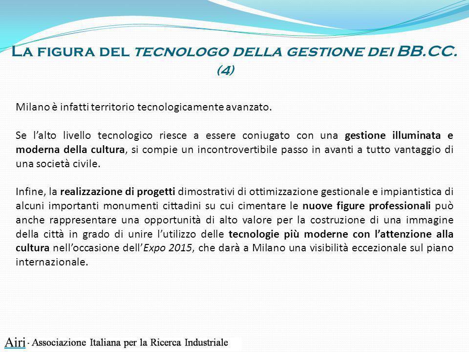 La figura del tecnologo della gestione dei BB.CC. Milano è infatti territorio tecnologicamente avanzato. Se lalto livello tecnologico riesce a essere