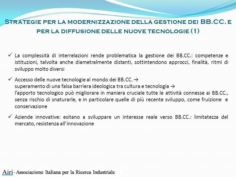 Strategie per la modernizzazione della gestione dei BB.CC. e per la diffusione delle nuove tecnologie (1) La complessità di interrelazioni rende probl