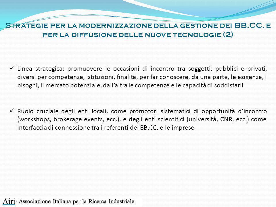 Strategie per la modernizzazione della gestione dei BB.CC. e per la diffusione delle nuove tecnologie (2) Linea strategica: promuovere le occasioni di