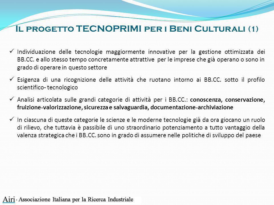 Il progetto TECNOPRIMI per i Beni Culturali (1) Individuazione delle tecnologie maggiormente innovative per la gestione ottimizzata dei BB.CC. e allo