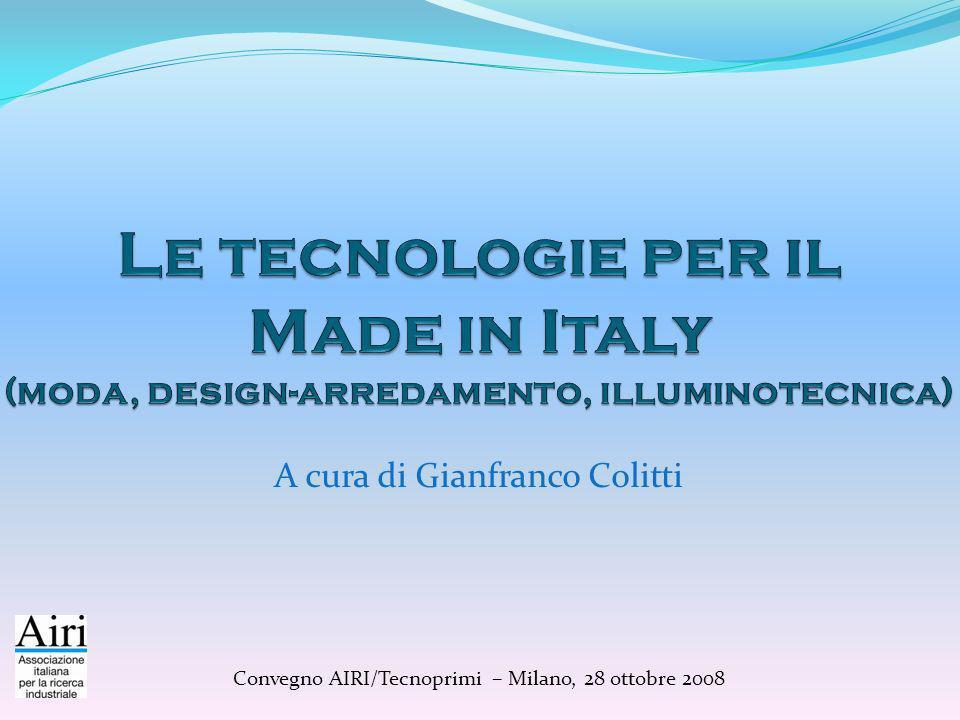 Made in Italy: eccellenza e innovazione Le 4 A delleccellenza manifatturiera italiana: Abbigliamento-moda Arredo-casa Automazione-meccanica Alimentari e bevande Oltre 400.000 imprese 3 milioni di addetti 65% delloccupazione manifatturiera Saldo commerciale con lestero (2007): 113 miliardi Abbigliamento- Moda-Cosmetica Arredo-Casa Automazione- Meccanica- Plastica AlimentazioneTotale 22,212,575,23,1113 19,6%11,1%66,5%2,7%100%