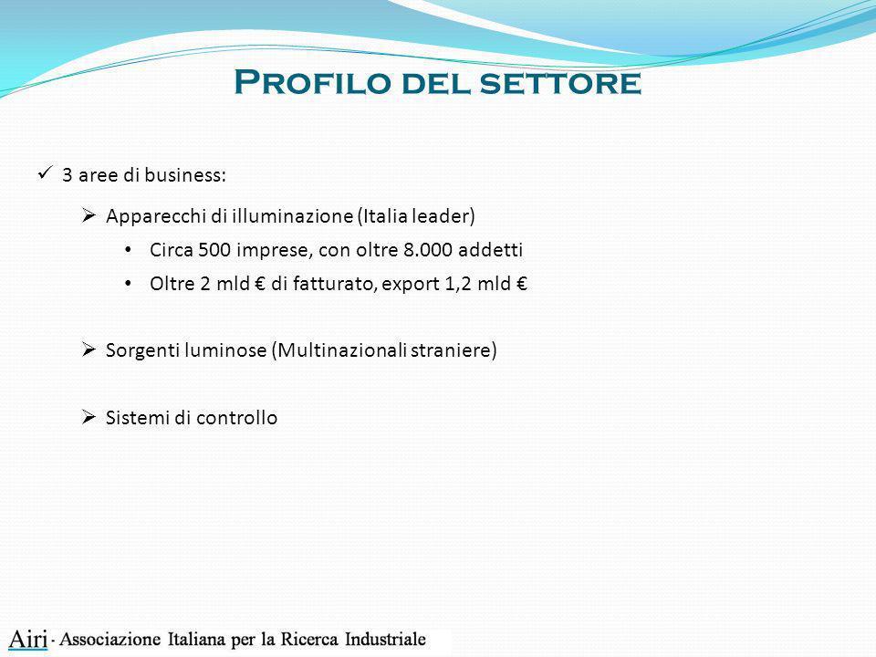 Profilo del settore 3 aree di business: Apparecchi di illuminazione (Italia leader) Circa 500 imprese, con oltre 8.000 addetti Oltre 2 mld di fatturat