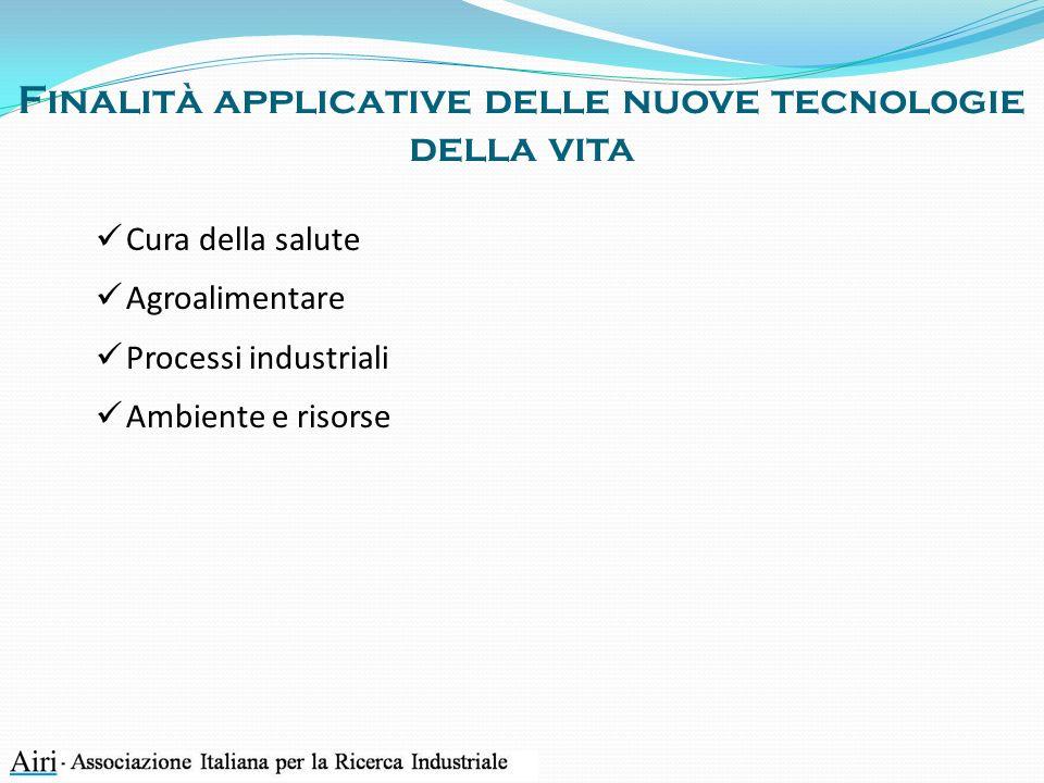 Finalità applicative delle nuove tecnologie della vita Cura della salute Agroalimentare Processi industriali Ambiente e risorse