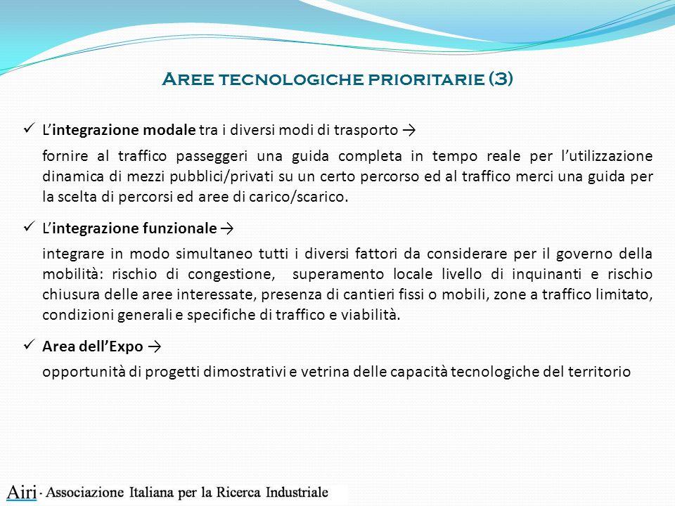 Aree tecnologiche prioritarie (3) Lintegrazione modale tra i diversi modi di trasporto fornire al traffico passeggeri una guida completa in tempo real